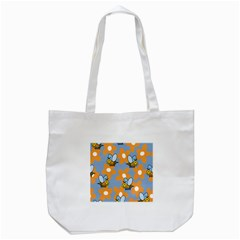 Wasp Bee Honey Flower Floral Star Orange Yellow Gray Tote Bag (white) by Mariart