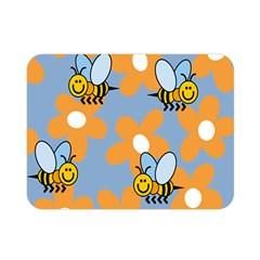 Wasp Bee Honey Flower Floral Star Orange Yellow Gray Double Sided Flano Blanket (mini)  by Mariart