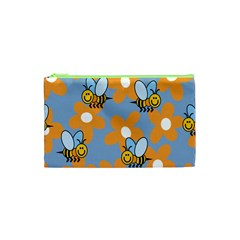 Wasp Bee Honey Flower Floral Star Orange Yellow Gray Cosmetic Bag (xs) by Mariart