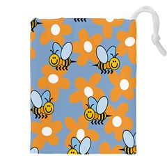 Wasp Bee Honey Flower Floral Star Orange Yellow Gray Drawstring Pouches (xxl) by Mariart