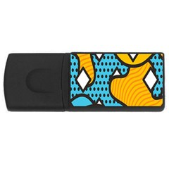 Wave Chevron Orange Blue Circle Plaid Polka Dot Usb Flash Drive Rectangular (4 Gb) by Mariart