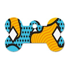 Wave Chevron Orange Blue Circle Plaid Polka Dot Dog Tag Bone (one Side) by Mariart