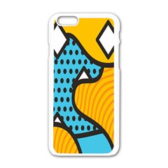 Wave Chevron Orange Blue Circle Plaid Polka Dot Apple Iphone 6/6s White Enamel Case by Mariart
