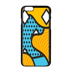 Wave Chevron Orange Blue Circle Plaid Polka Dot Apple Iphone 6/6s Black Enamel Case by Mariart