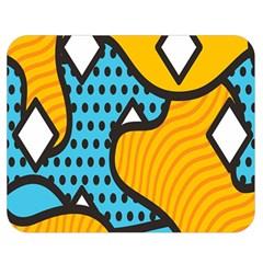 Wave Chevron Orange Blue Circle Plaid Polka Dot Double Sided Flano Blanket (medium)  by Mariart