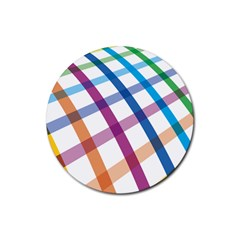 Webbing Line Color Rainbow Rubber Round Coaster (4 Pack)  by Mariart