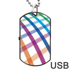 Webbing Line Color Rainbow Dog Tag Usb Flash (one Side) by Mariart
