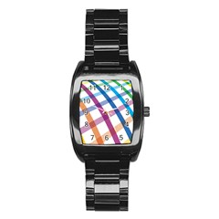 Webbing Line Color Rainbow Stainless Steel Barrel Watch by Mariart