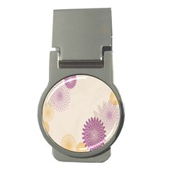 Star Sunflower Floral Grey Purple Orange Money Clips (round)  by Mariart