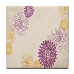 Star Sunflower Floral Grey Purple Orange Face Towel by Mariart