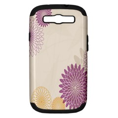 Star Sunflower Floral Grey Purple Orange Samsung Galaxy S Iii Hardshell Case (pc+silicone) by Mariart
