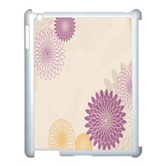 Star Sunflower Floral Grey Purple Orange Apple Ipad 3/4 Case (white) by Mariart