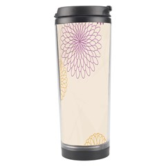 Star Sunflower Floral Grey Purple Orange Travel Tumbler by Mariart