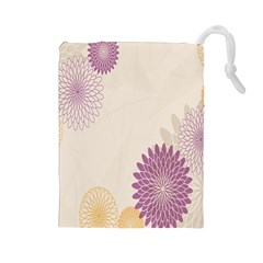Star Sunflower Floral Grey Purple Orange Drawstring Pouches (large)  by Mariart