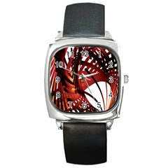 Webbing Red Square Metal Watch by Mariart