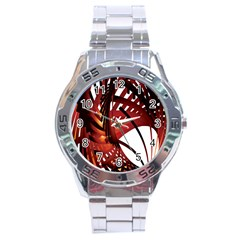 Webbing Red Stainless Steel Analogue Watch by Mariart