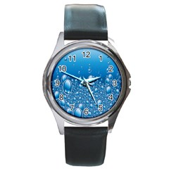 Water Bubble Blue Foam Round Metal Watch by Mariart