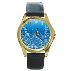 Water Bubble Blue Foam Round Gold Metal Watch by Mariart