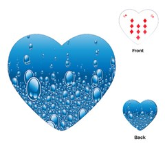 Water Bubble Blue Foam Playing Cards (heart)  by Mariart