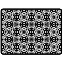 Geometric Black And White Double Sided Fleece Blanket (large)  by linceazul