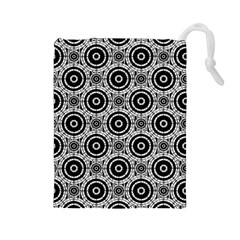 Geometric Black And White Drawstring Pouches (large)  by linceazul