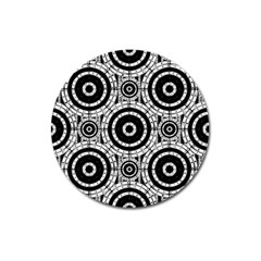 Geometric Black And White Magnet 3  (round) by linceazul