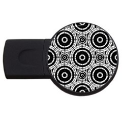 Geometric Black And White Usb Flash Drive Round (4 Gb) by linceazul