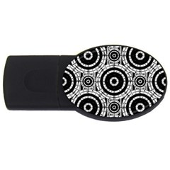 Geometric Black And White Usb Flash Drive Oval (4 Gb) by linceazul