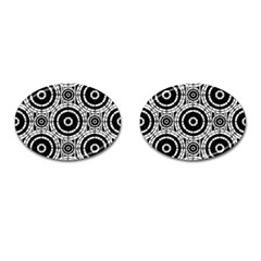 Geometric Black And White Cufflinks (oval) by linceazul