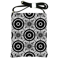 Geometric Black And White Shoulder Sling Bags by linceazul