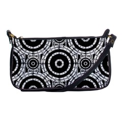 Geometric Black And White Shoulder Clutch Bags by linceazul