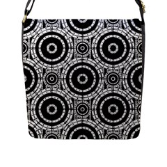 Geometric Black And White Flap Messenger Bag (l)  by linceazul