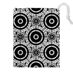 Geometric Black And White Drawstring Pouches (xxl) by linceazul