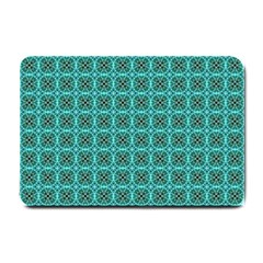 Turquoise Damask Pattern Small Doormat  by linceazul