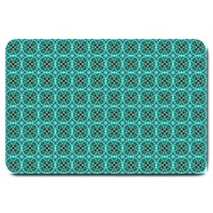Turquoise Damask Pattern Large Doormat  by linceazul