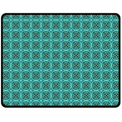 Turquoise Damask Pattern Double Sided Fleece Blanket (medium)  by linceazul