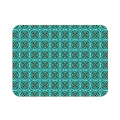 Turquoise Damask Pattern Double Sided Flano Blanket (mini)  by linceazul