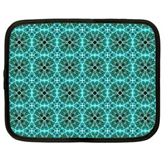 Turquoise Damask Pattern Netbook Case (large) by linceazul