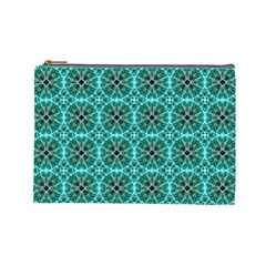 Turquoise Damask Pattern Cosmetic Bag (large)  by linceazul