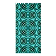 Turquoise Damask Pattern Shower Curtain 36  X 72  (stall)  by linceazul