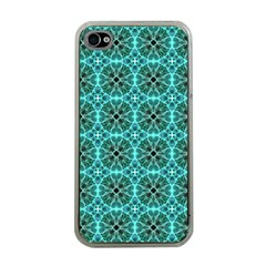 Turquoise Damask Pattern Apple iPhone 4 Case (Clear) by linceazul