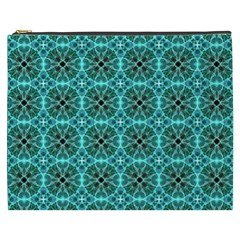 Turquoise Damask Pattern Cosmetic Bag (xxxl)  by linceazul