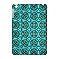 Turquoise Damask Pattern Apple Ipad Mini Hardshell Case (compatible With Smart Cover) by linceazul