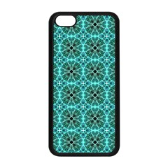 Turquoise Damask Pattern Apple Iphone 5c Seamless Case (black) by linceazul