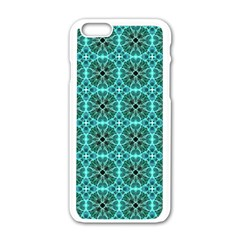 Turquoise Damask Pattern Apple Iphone 6/6s White Enamel Case by linceazul