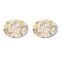 Colorful Seamless Floral Background Cufflinks (oval) by TastefulDesigns