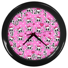 Cute Skulls  Wall Clocks (black) by Valentinaart