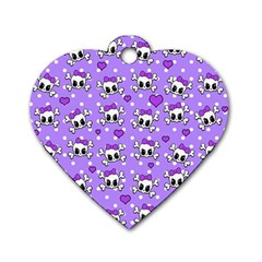 Cute Skulls  Dog Tag Heart (one Side) by Valentinaart