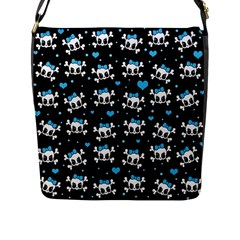 Cute Skulls  Flap Messenger Bag (l)  by Valentinaart