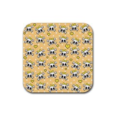 Cute Skull Rubber Square Coaster (4 Pack)  by Valentinaart